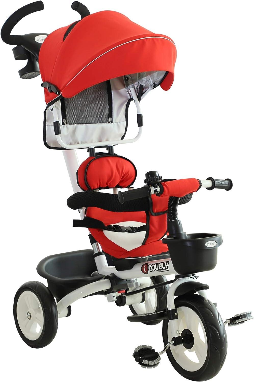HOMCOM Triciclo Bebé Plegable 4 en 1 Trolley Trike Bicicletas para Niños +18 Mes Evolutivo Asiento Giratorio Capota Barra Desmontable Control Parental Juguete Aprendizaje