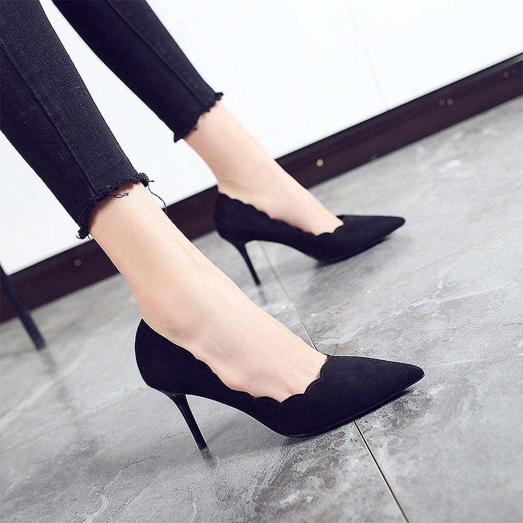 女性のハイヒール秋夏セクシーブラックProfessional薄いセクション靴 US:7\UK:6\EUR:39 ブラック 666666 B076DKBMVZ  ブラック US:7\\UK:6\\EUR:39
