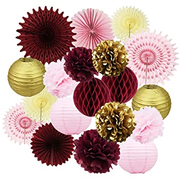 amazon com 19pcs maroon bridal shower decorations burgundy pink
