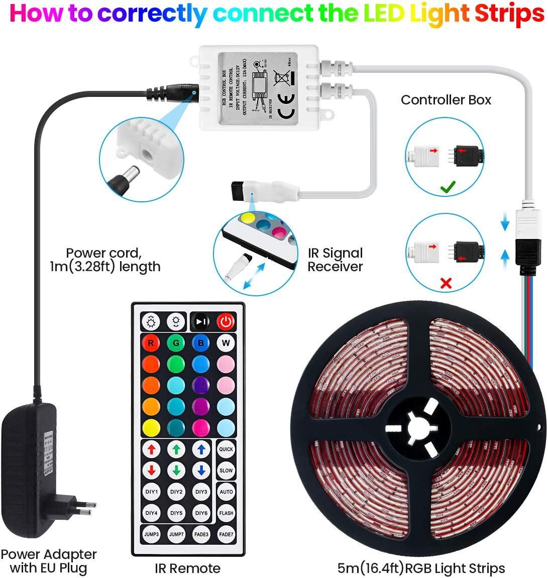 Elfeland RGB LED Streifen 150LEDs 5050SMD Led Band TV Hintergrundbeleuchtung Farbwechsel LED Lichtband mit 44 Tasten Fernbedienung 12V Netzteil Selbstklebend Innen Lichterkette Full Kit LED Strip 5m