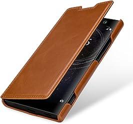 StilGut Housse pour Sony Xperia XA2 en Cuir véritable et à Ouverture latérale, Cognac