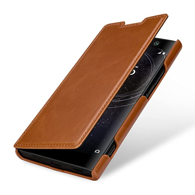 wholesale dealer 3be8a 3bdb6 StilGut Case Compatible with Sony Xperia XA2. Leather Book Type Flip Cover  for Xperia XA2, Folio Case, Cognac Brown