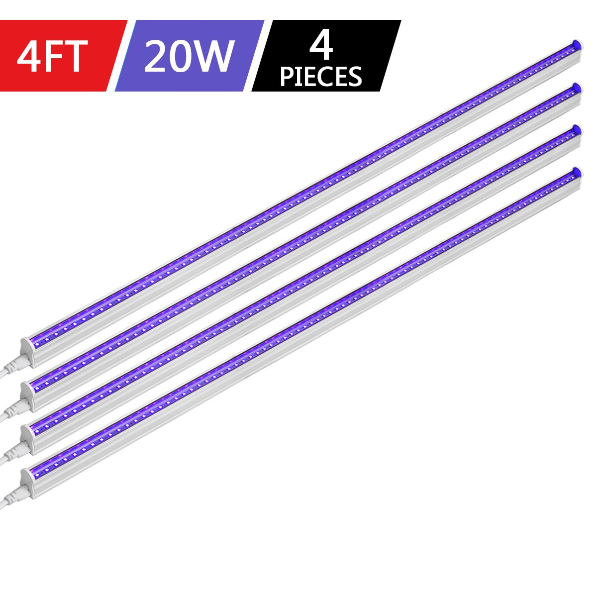 Byingo UV Black Light Fixtures 4ft 20W LED T5 Integrated Single Fixture Extendable Tube Bulb Blacklight for DJ Stage Dorm Party Club, Corded Included Built-in ON/Off Switch Plug and Play, 4-Pack