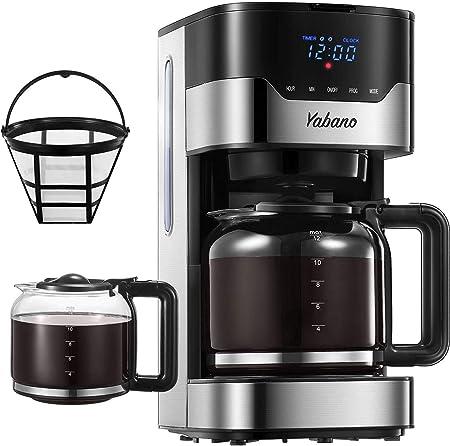 Yabano Cafetera Goteo, 1.5L(12 Tazas) Cafetera con Filtro Reutilizable, Digital con Pantalla LCD, Temporizador Programable, Función Recalentar y Mantener Caliente, 900W: Amazon.es: Hogar