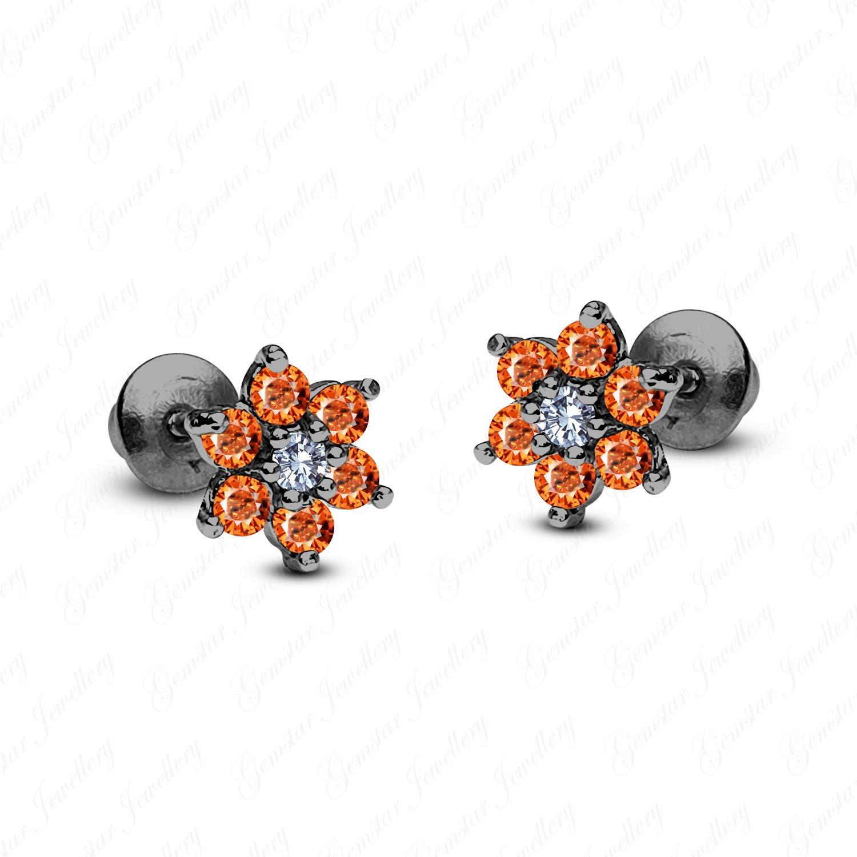 Gemstar Jewellery Round Orange Sapphire 18K Black Rhodium Plating Wedding Cluster Flower Earrings