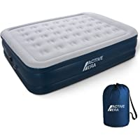 Premium Queen Size Double Air Bed - Elevated Inflatable Air Mattress, Built-in Electric Pump, Raised Pillow & Structured Air-Coil Technology, Height 20""