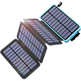Tranmix Solar Charger 25000mAh Power Bank with 4 Solar Panels Waterproof Battery Pack Phone Charger with Flashlight for iPhon