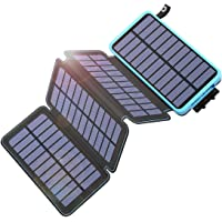 Tranmix Solar Charger 25000mAh Power Bank with 4 Solar Panels Waterproof Battery Pack Phone Charger with Flashlight for…