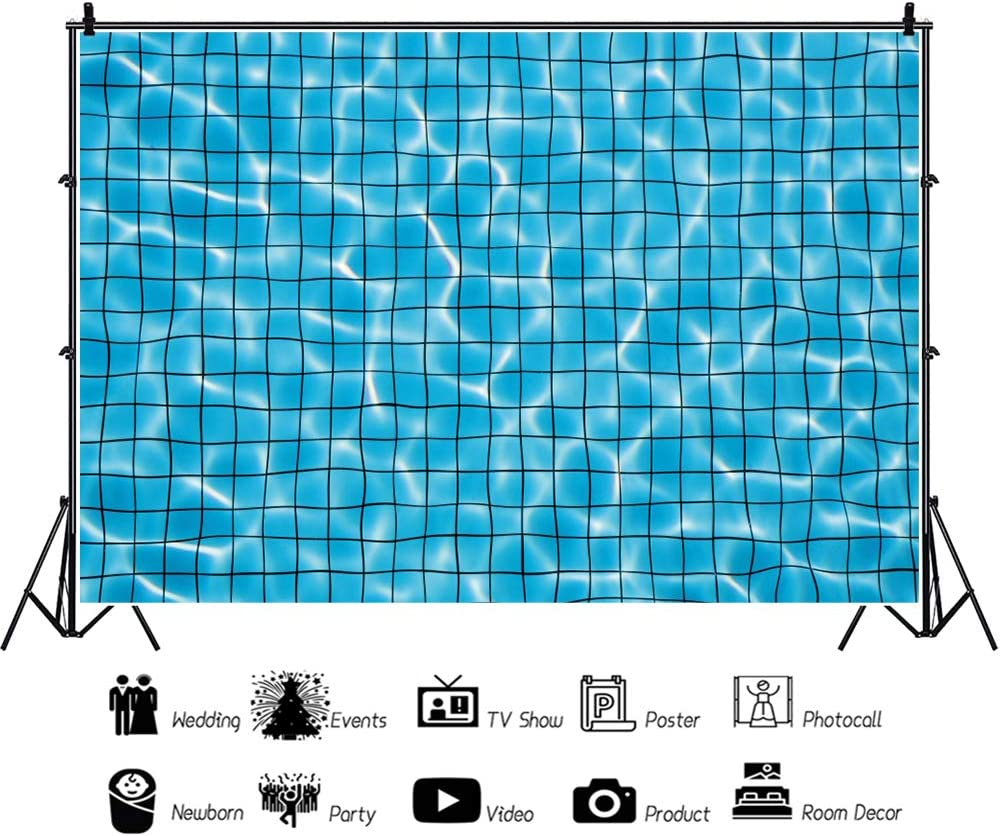 AOFOTO 5x3ft Swimming Pool Water Background Bright Blue Wave Ripples Summer Sea Surface Abstract Reflections Pattern Backdrop Underwater Vacation Holiday Photo Studio Props Vinyl