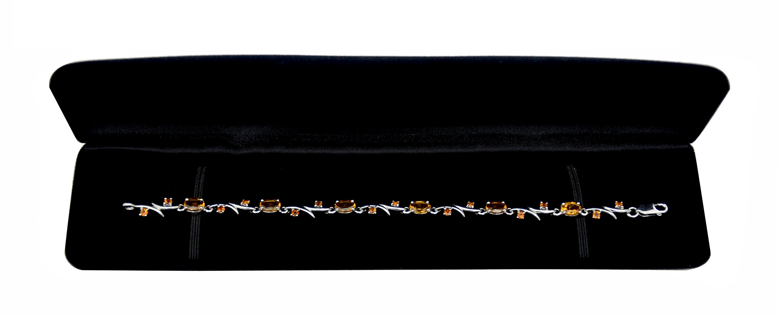 """RB Gems Sterling Silver 925 Tennis Bracelet Genuine Gemstone 5 Carats with Rhodium-Plated Finish, 7"""" Long (Citrine) by RB Gems (Image #3)"""