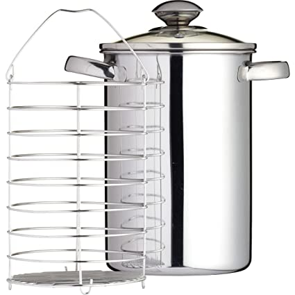 Kitchen Craft - Vaporera para espárragos, acero inoxidable, 3L, 24.6 x 21.6 x 16.6 cm