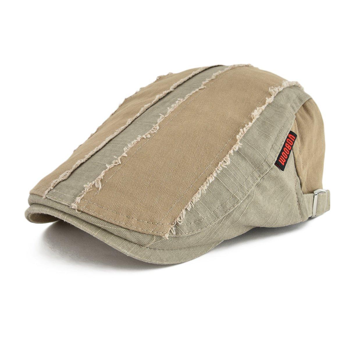 VOBOOM 100% Cotton Distressed Ivy Caps Newsboy Caps Cabbie Hat Gatsby Hat (Khaki)