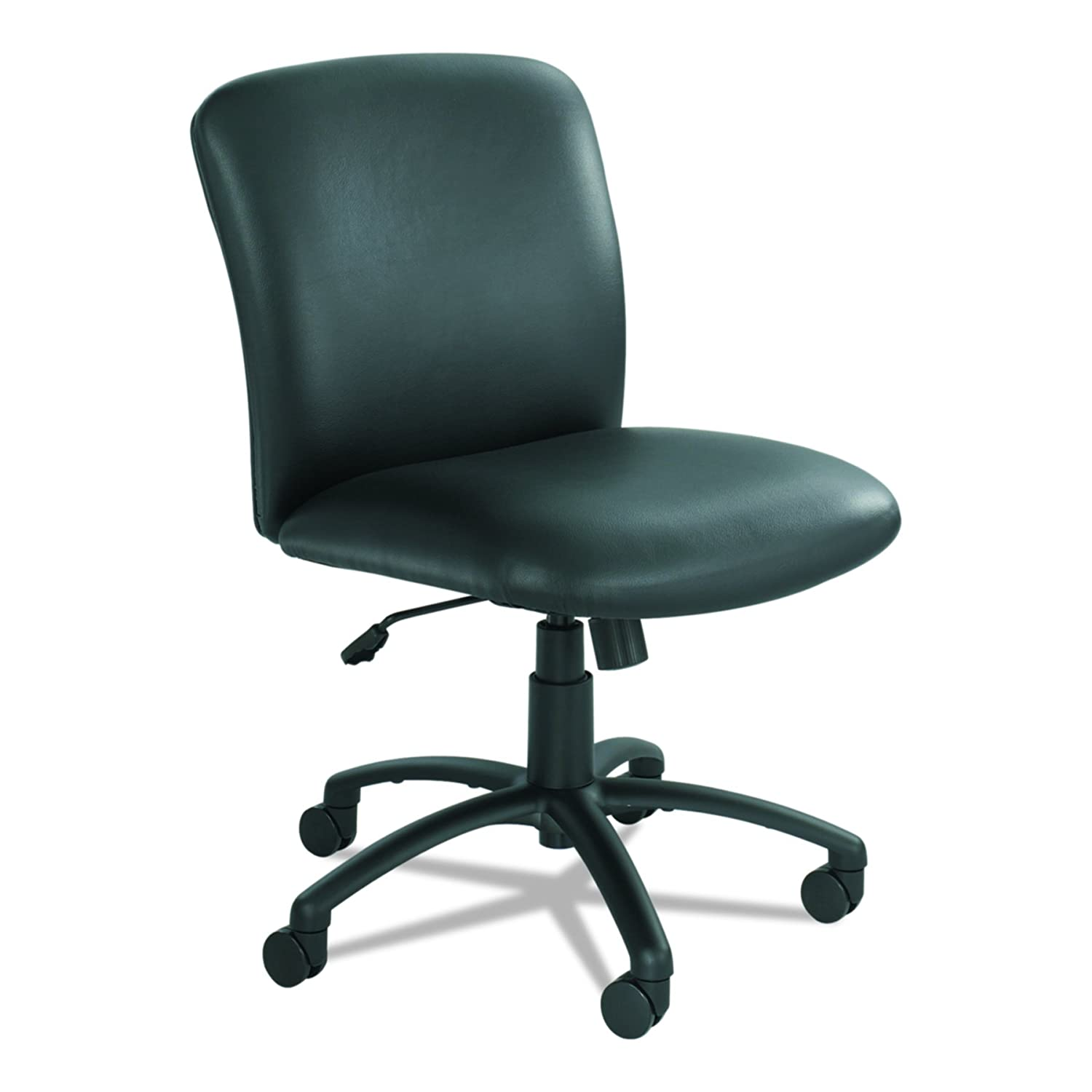 Safco Products Uber Big and Tall Mid Back Chair , Black Vinyl, Rated for 24/7 Use, Holds up to 500 lbs. (Optional arms sold separately)