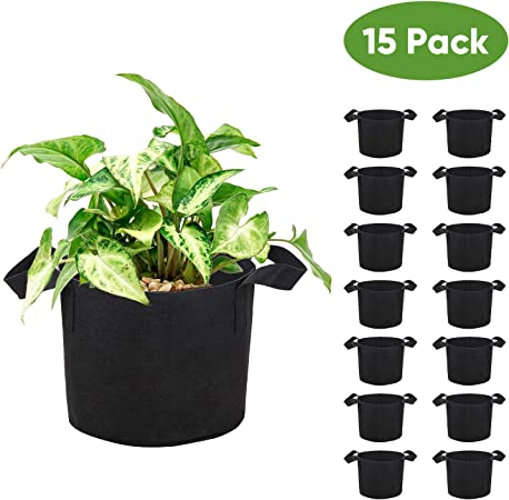 Breathable Fabric Root Aeration Pot Handles 10 Pack Outdoor Garden Black Durable