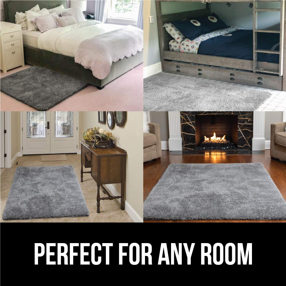GORILLA GRIP Original Faux-Chinchilla Nursery Area Rug, Light Pink 4 x 6 Super Soft /& Cozy High Pile Machine Washable Carpet Luxury Shag Carpets for Home Bed//Living Room Modern Rugs for Floor