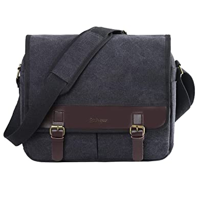 59d56b5252 Eshow Men s Retro Canvas Crossbody Shoulder Messenger Bag Brief Business Bag  (Black-5211)
