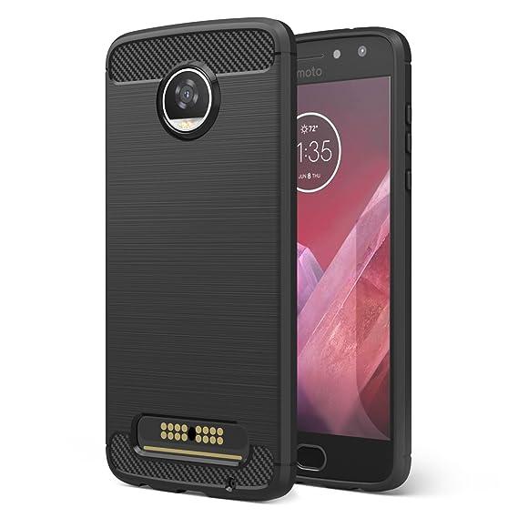 best service 86436 857ab Motorola Moto Z2 Play Case, MoKo Flexible TPU Bumper Slim Fit Case Carbon  Fiber Design Lightweight Shockproof Back Cover for Moto Z2 Play 5.5 Inch ...