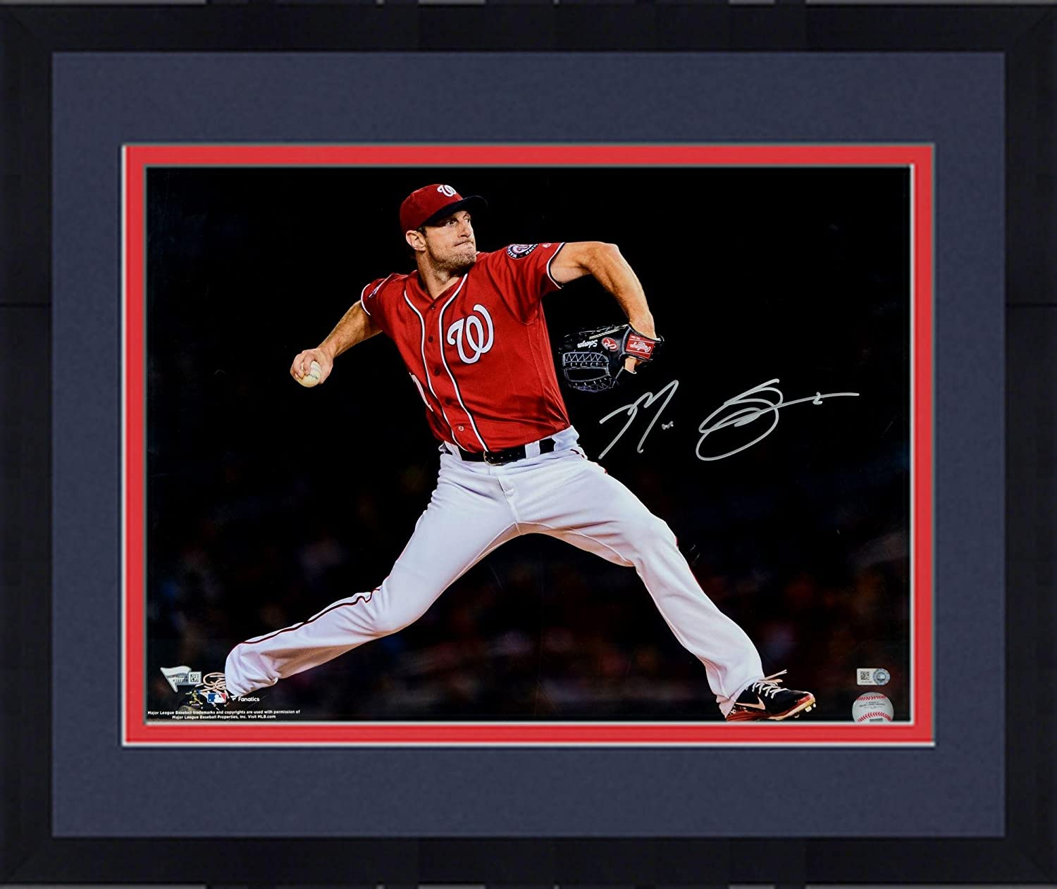 Fanatics Authentic Certified Framed Max Scherzer Washington Nationals Autographed 16 x 20 Red Pitching Photograph