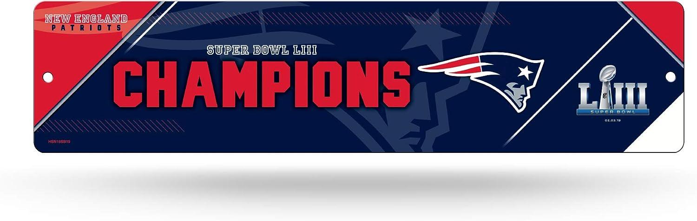 Rico Industries NFL New England Patriots Super Bowl LIII Champions 16-Inch Plastic Street Sign Décor, Blue