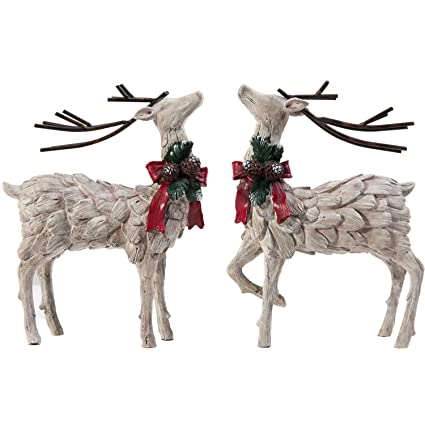cedar home resin holiday figurine decorative christmas deer tabletop statue decor 2 pack