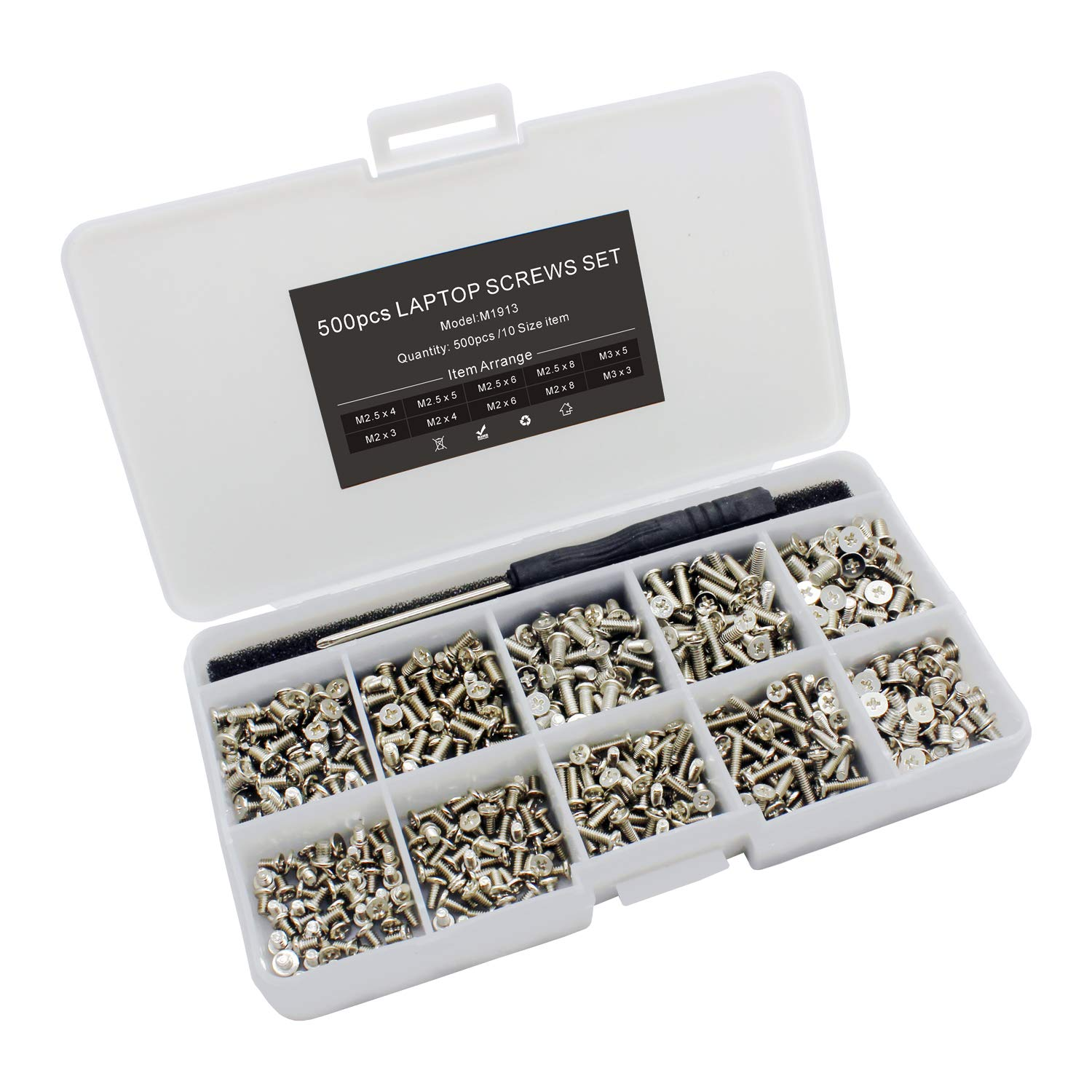 Mcsher 500pcs Laptop Notebook Screws Set for IBM HP Dell Lenovo Samsung Sony Toshiba Acer Gateway Screw Assortment Kit with Screwdriver - Silver