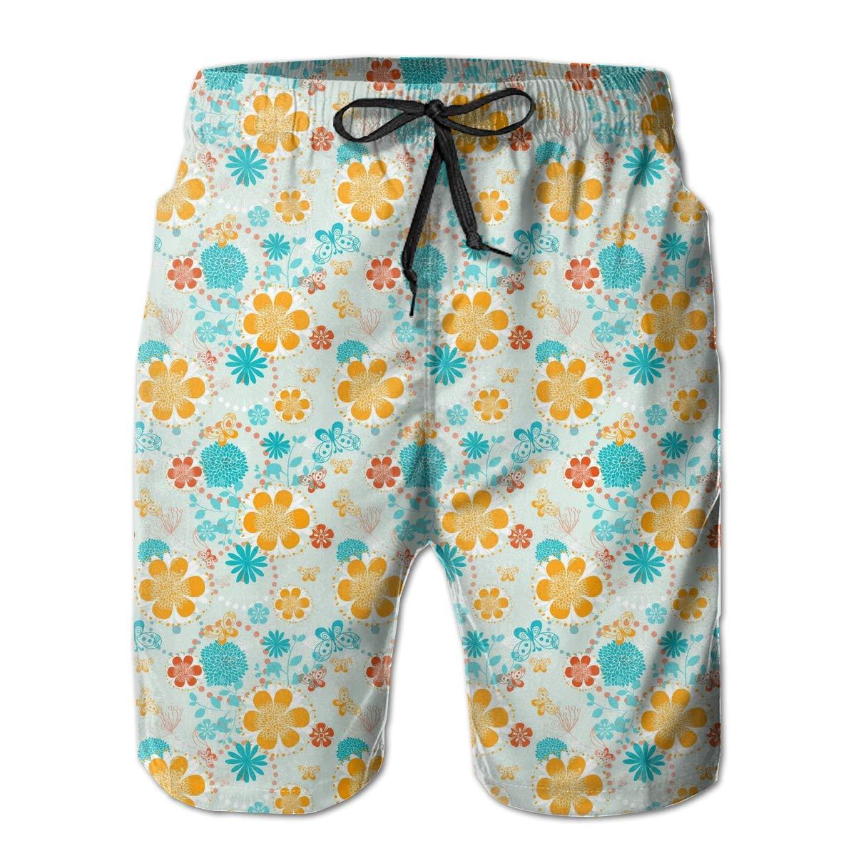 Leisue Orange Flower Quick Dry Elastic Lace Boardshorts Beach Shorts Pants Swim Trunks Male Swimsuit with Pockets