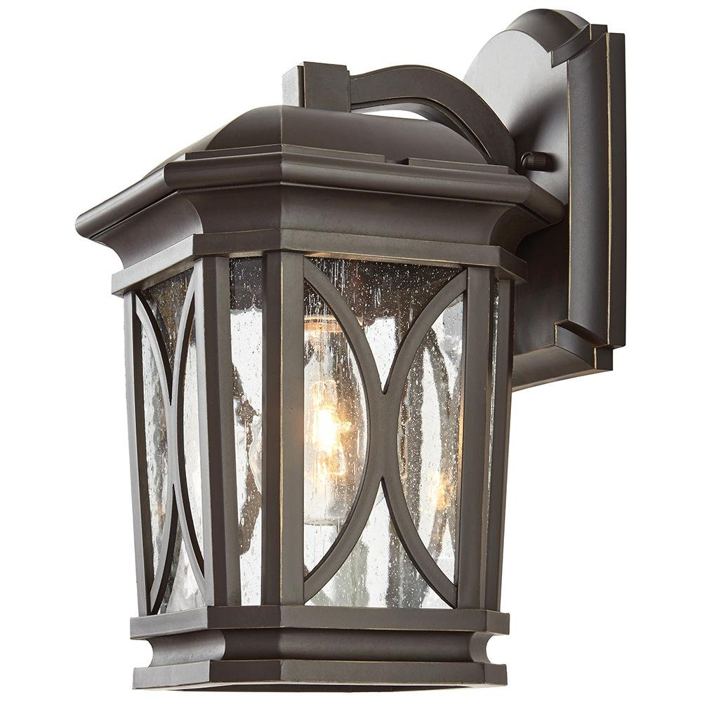 Home Decorators Collection 1-Light Bronze with Brass Highlights Outdoor 7 in. Wall Mount Lantern with Clear Seedy Glass
