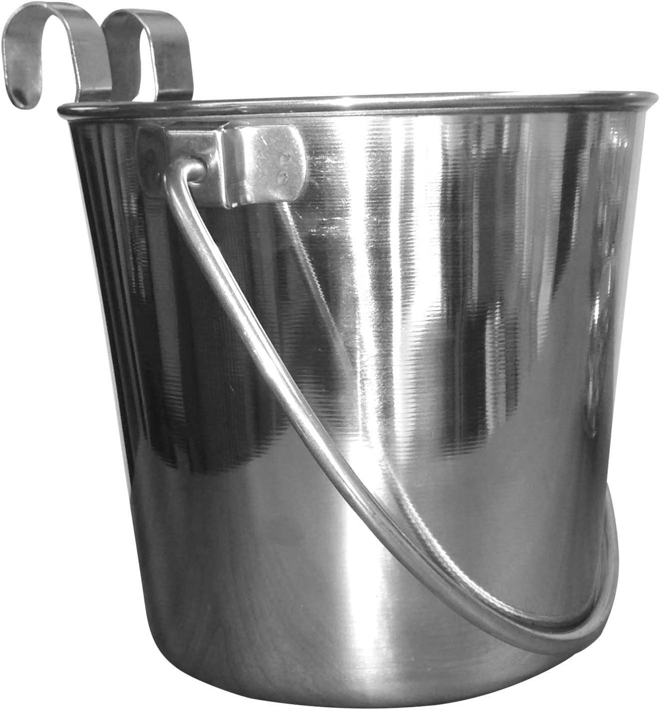 QT Dog Flat Sided Stainless Steel Bucket with Hooks, 9 Quart