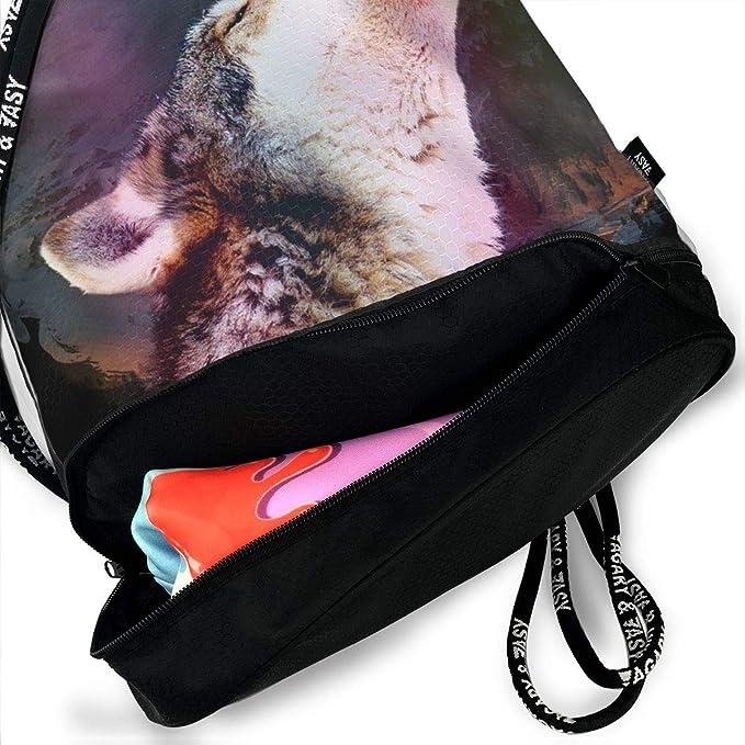 d07f17571e09 Amazon.com: Zhangyi Cool Galaxy Wolf Drawstring Backpack Sports Gym ...