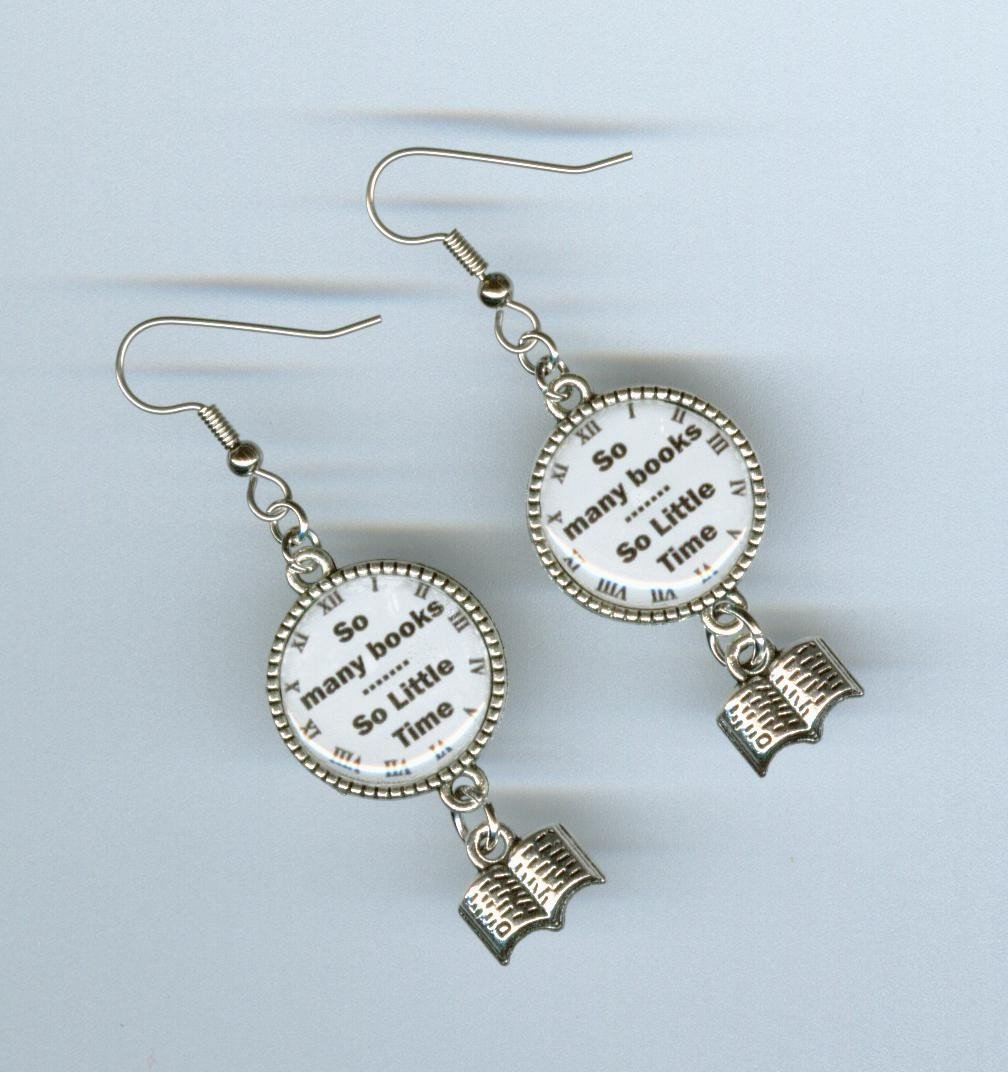 Book Dangles Books Silver Charm Dangle Earrings