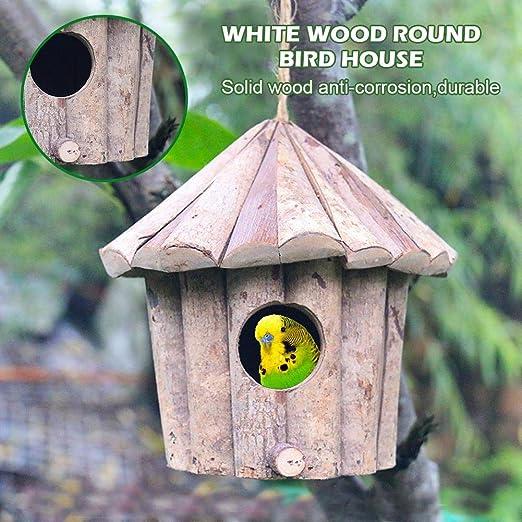 HoneybeeLY Casa de pájaros de Madera Hecha a Mano, casita para pájaros, Agujero Redondo de Madera Blanca, Jaula de pájaros anticorrosión sólida, 16 x 16 x 16 cm: Amazon.es: Productos para mascotas