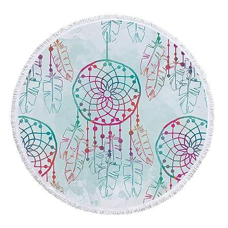 Amazon.com : W.ILGF Yoga Mat Mandala Tassel Tapestry Round Beach Towel for Woman Microfiber Toalla Cover Up Blanket 150Cm : Garden & Outdoor