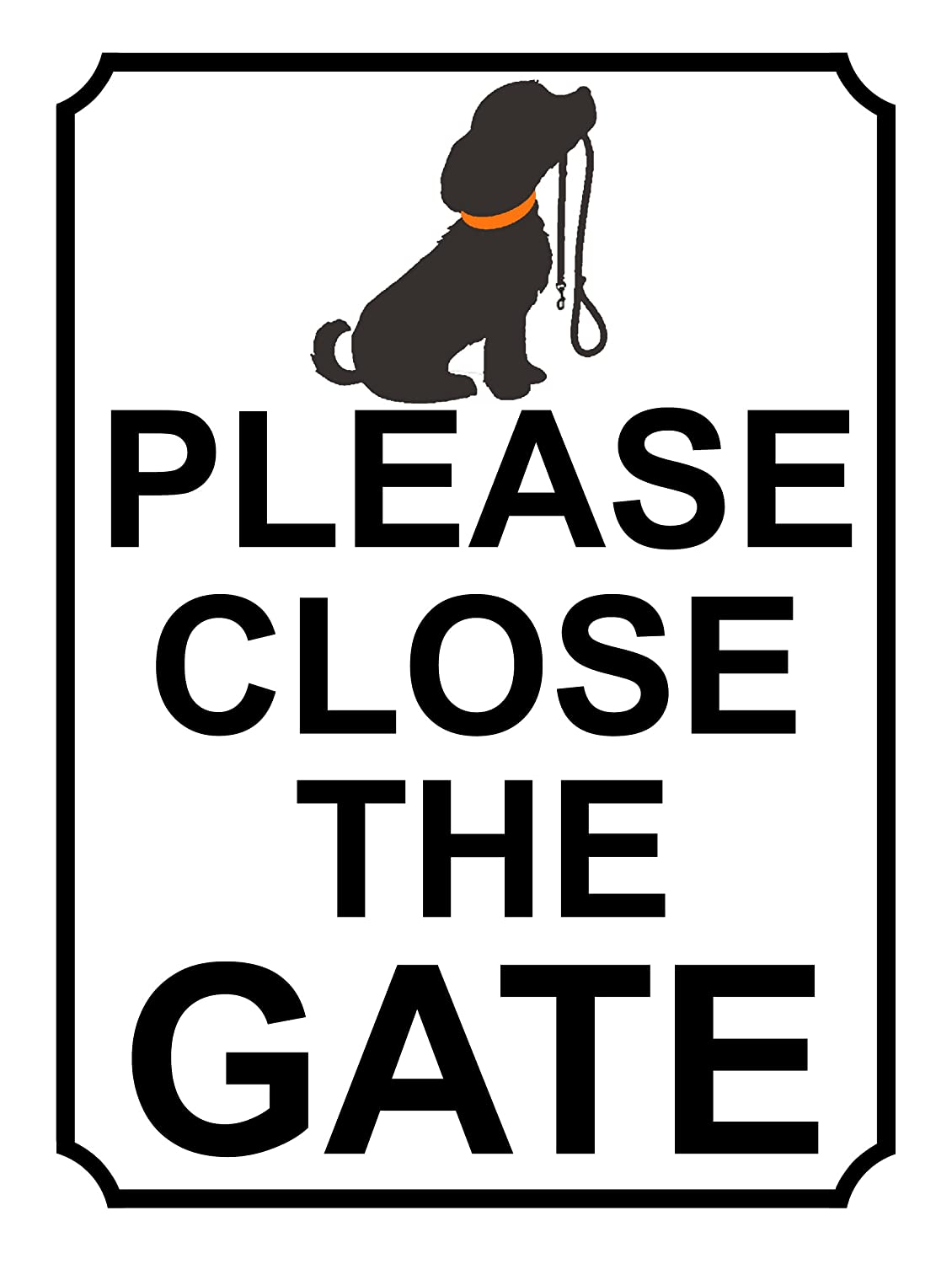 SHAWPRINT PLEASE CLOSE THE GATE METAL SIGN DOG THEME 200MM X 150MM (35H1)