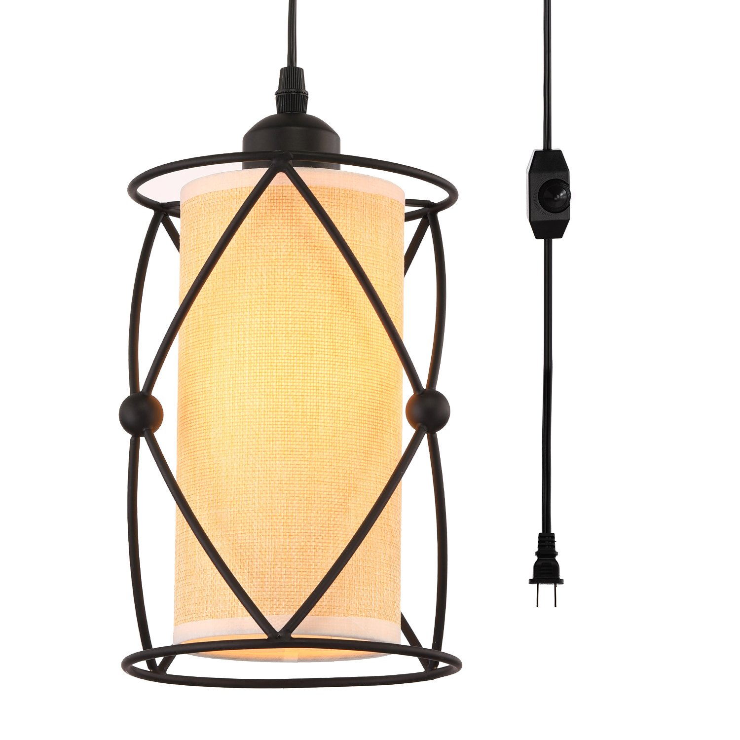 Creatgeek Plug-In Modern Industrial Pendant Light with Linen Drum Lamp Shade, 15' Hanging Cord and In-Line On/Off Dimmer Switch,Black Finish Cylinder Style