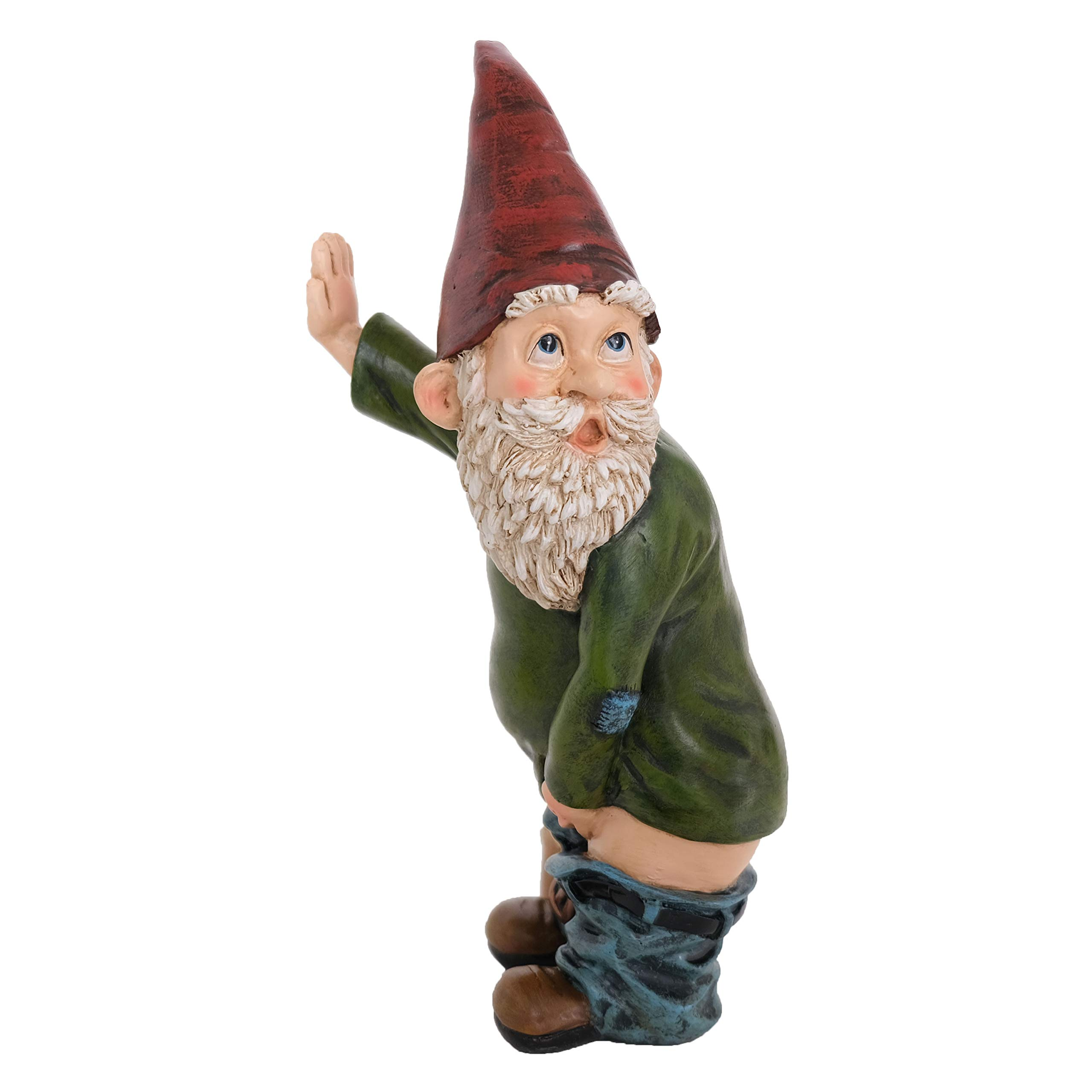 """Bella Haus Design Peeing Gnome - 10.3"""" Tall Polyresin - Naughty Garden Gnome for Lawn Ornaments, Indoor or Outdoor Decorations - Red and Green Funny Flashing Gnomes"""