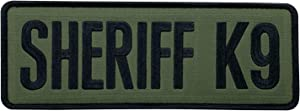 """uuKen Large Embroidery OD Green Deputy Sheriff K9 Unit Department Military Morale Patch 8.5x3 inch with Hook Fastener Back for Tactical Vest Jackets Uniform (OD Green, Large 8.5""""x3"""")"""