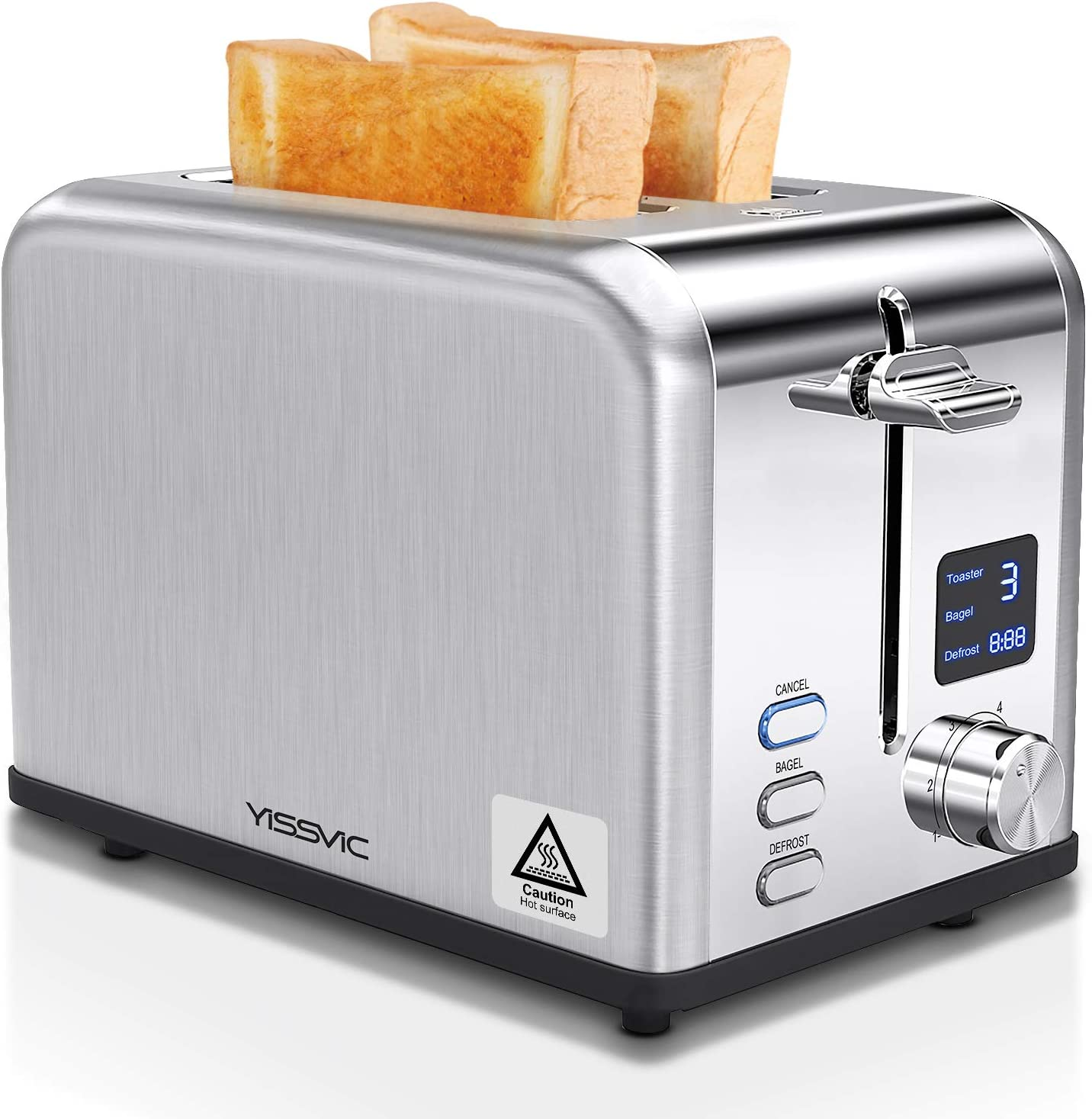 YISSVIC Toaster 2 Slice Extra Wide Slot Toasters 3 Functions Digital Display Bread Toaster with 6 Browning Settings and Removable Crumb Tray