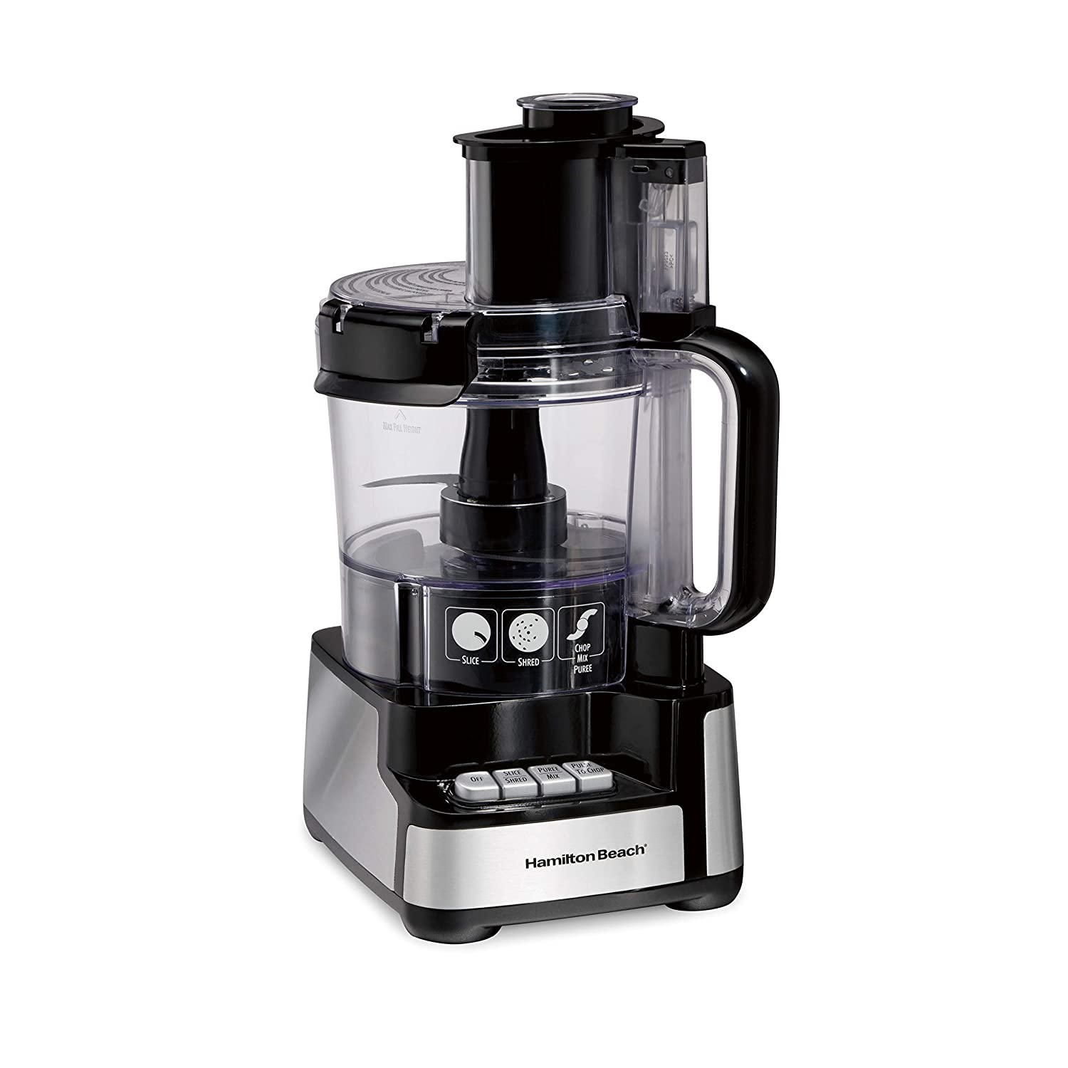 Hamilton Beach 70725A 12-Cup Stack & Snap Food Processor and Vegetable Chopper, Black (Renewed)