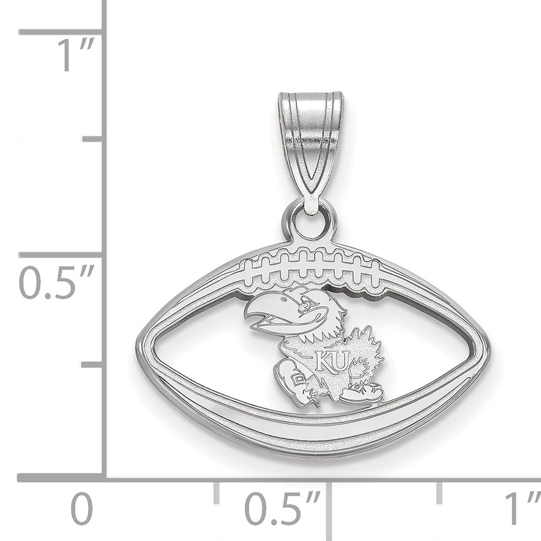 925 Sterling Silver Rhodium-plated Laser-cut University of Kansas Football Pendant