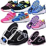 LAROK Kids' Roller Skate Shoes Single Wheel Fashion Sneakers,LZ04,Black,42