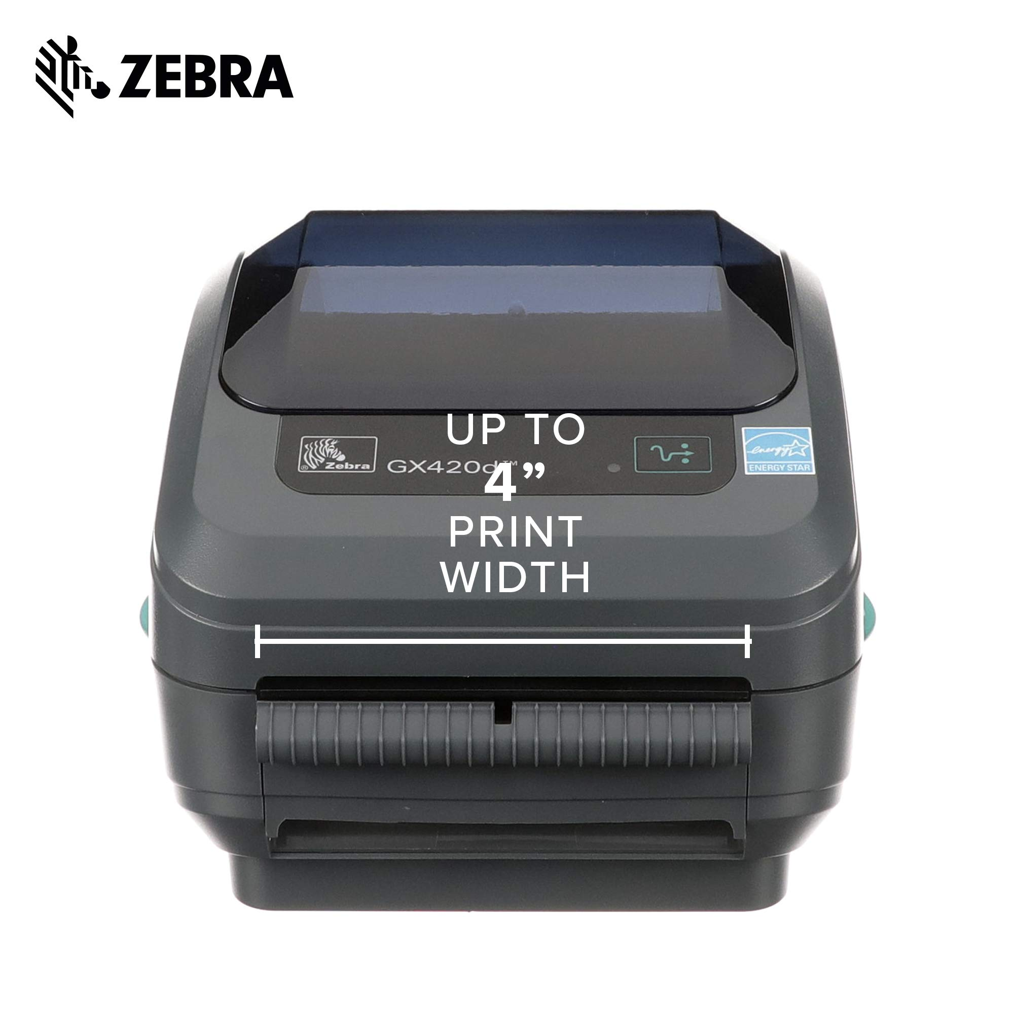Zebra - GX420d Direct Thermal Desktop Printer for Labels, Receipts, Barcodes, Tags, and Wrist Bands - Print Width of 4 in - USB, Serial, and Ethernet Port Connectivity (Includes Peeler) by ZEBRA (Image #3)