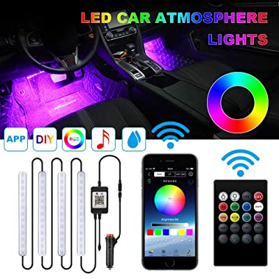 Car Interior Lights,TACHICO Car RGB LED Strip Lights APP IR Wireless Remote Control Car Interior 4pcs Multi-Color music Waterproof Lights Kit Strips with Sound control Car Charger Included DC 12V…: Automotive