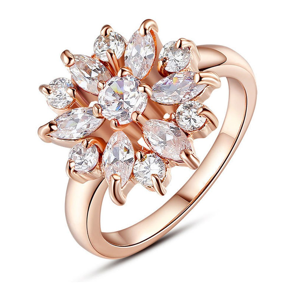 F/&F Jewelry Rose Gold Plated Flower Finger Ring Cubic Zircon Jewelry for Women Wedding Rings