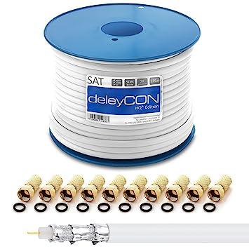 Cable coaxial deleyCON HQ+ 50m SAT 135dB blindado de 5 capas DVB-S+S2