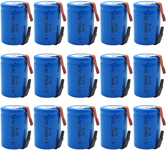 BAOBIAN 4/5 SubC Sub C Rechargeable Battery NiCd with Tabs 1.2V 2200mAh for Power Tools(15 Pcs)