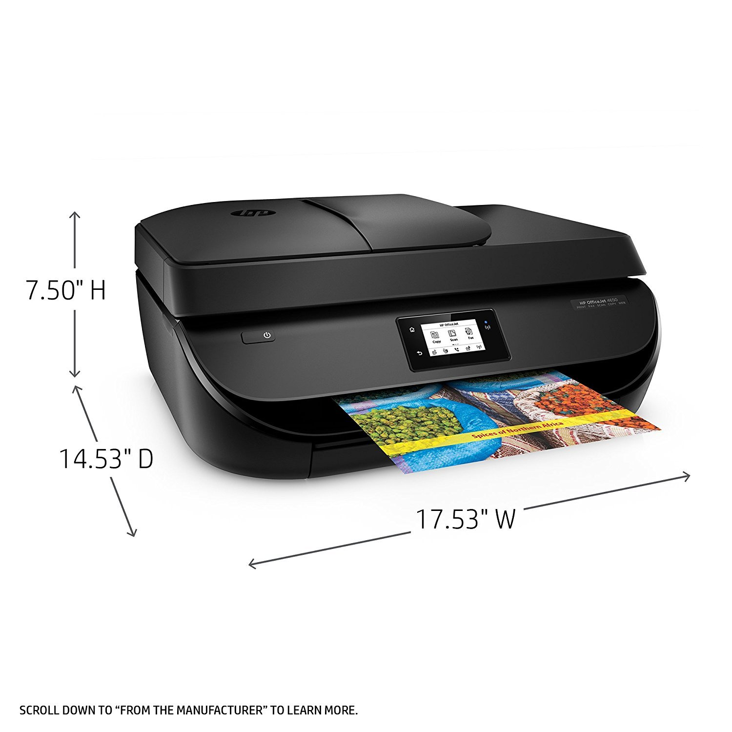 HP OfficeJet 4650 Wireless All-in-One Photo Printer, Copier and Scanner - Black (Certified Refurbished) by HP (Image #3)