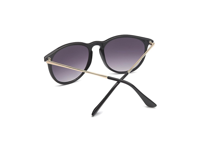 Vintage Sonnenbrille im 60er Style mit trendigen bronzefarbenden Metallbügeln Panto - Retro Brille (schwarz) 9hhqSoKy