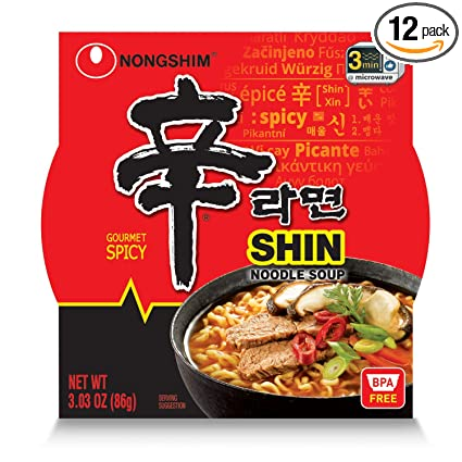 Amazon Com Nongshim Shin Bowl Noodle Soup Gourmet Spicy 3 03 Ounce Pack Of 12 Prepared Noodle Bowls Grocery Gourmet Food
