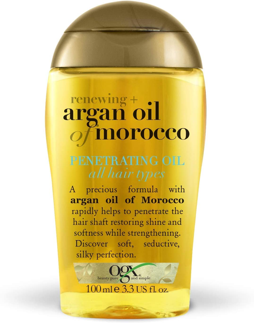 OGX Aceite de Argán de Marruecos, aceite penetrante, pelo radiante, sedoso, suave, brillante - 100 ml
