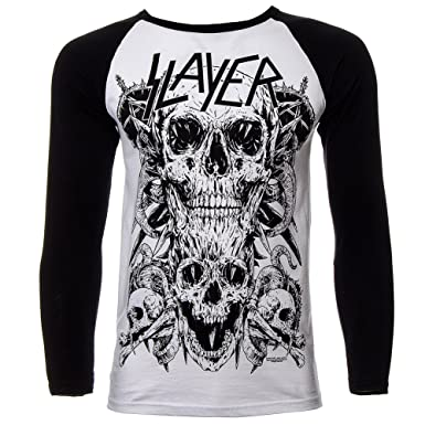 Slayer Skulls Pentagram Bones Official Mens New White Baseball Shirt